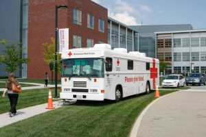 American Red Cross bus parked on TCC campus